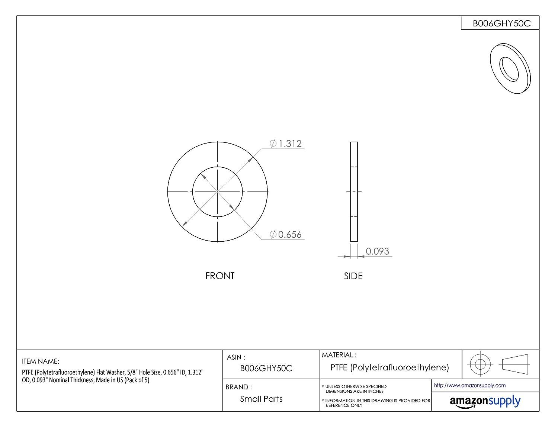 PTFE Flat Washer 0.030 Nominal Thickness 0.218 ID #10 Hole Size 0.437 OD Polytetrafluoroethylene Made in US Pack of 50