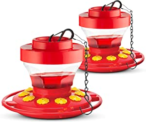 SEWANTA Hummingbird Feeders for Outdoors 16-Ounce [Set of 2] First Nature Hummingbird Feeder Includes, Perch with 10 Feeding Ports - Bundled [2] with Hanging Chains 9.5 Inch [4 Pcs Set]