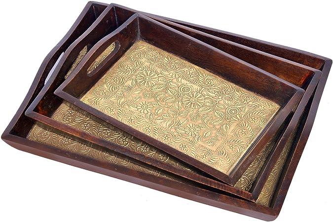 Jaipur handicrafts hub - Juego de 3 bandejas de Madera FTD rectangulares de latón con Aspecto Antiguo: Amazon.es: Hogar