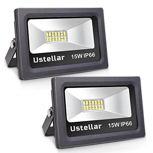 Ustellar 2 Pack 1200lm 15W LED Flood Light, IP66 Waterproof, Outdoor Super Bright Security Lights, Floodlight Landscape Wall Lights, 5000K Daylight White