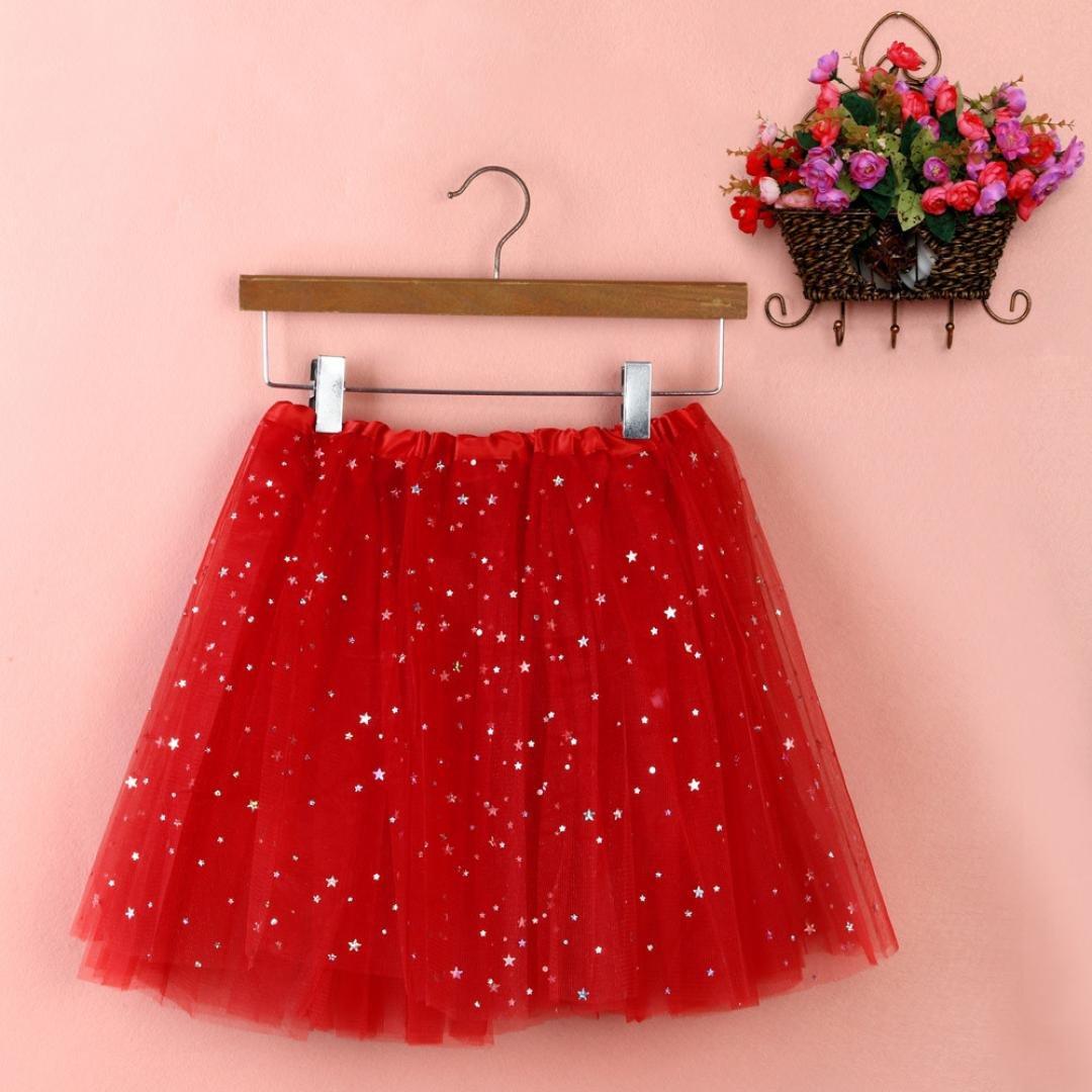 Sinwo Womens Girl Cute Pleated Gauze Short Skirt Adult Tutu Dancing Skirt Basic Skirt (Red)