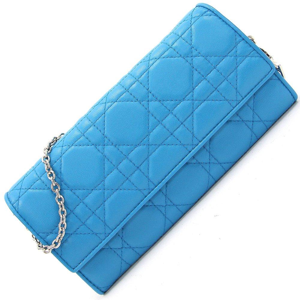 Dior(ディオール) 二つ折り長財布 レディDior(ディオール) カナージュステッチ CAL43060P ブルー ラムレザー チェーン付き 中古 青系 キルティング チャーム付き チェーンウォレット ロングウォレット Christian Dior [並行輸入品] B078LGC14C