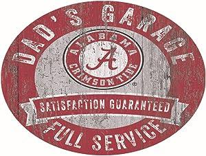"Fan Creations NCAA Alabama Crimson Tide 12"" Round Dad's Garage Wood Sign"