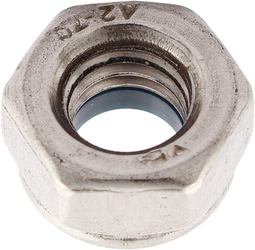 Argent 5 Pieces REFURBISHHOUSE M10 x 1.5mm 304 ecrou de verrouillage hexagonale en acier inoxydable ecrou dinsertion a six pans creux en acier inoxydable