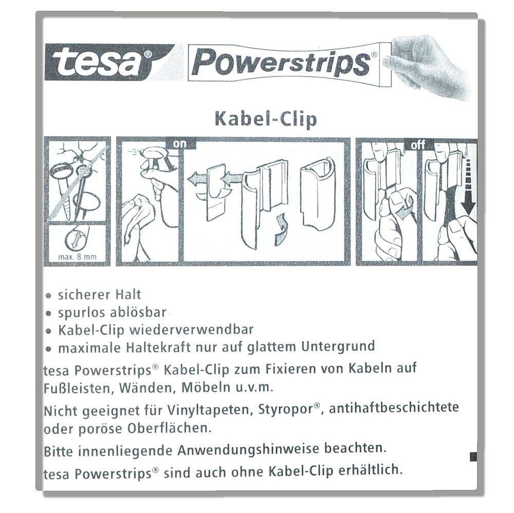 Hervorragend Tesa Kabel-Clip Powerstrips - 5 Stück - spurlos ablösbar - zum  AE89