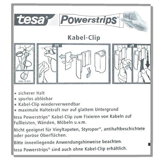 Neu Tesa Kabel-Clip Powerstrips - 5 Stück - spurlos ablösbar - zum  UA87