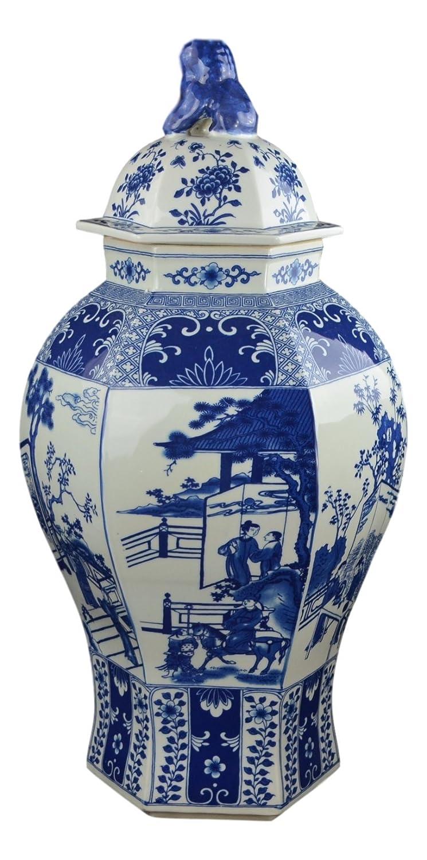 """24"""" Classic azul y blanco porcelana figura templo tarro jarrón, China Qing estilo, Jingdezhen (D23)"""