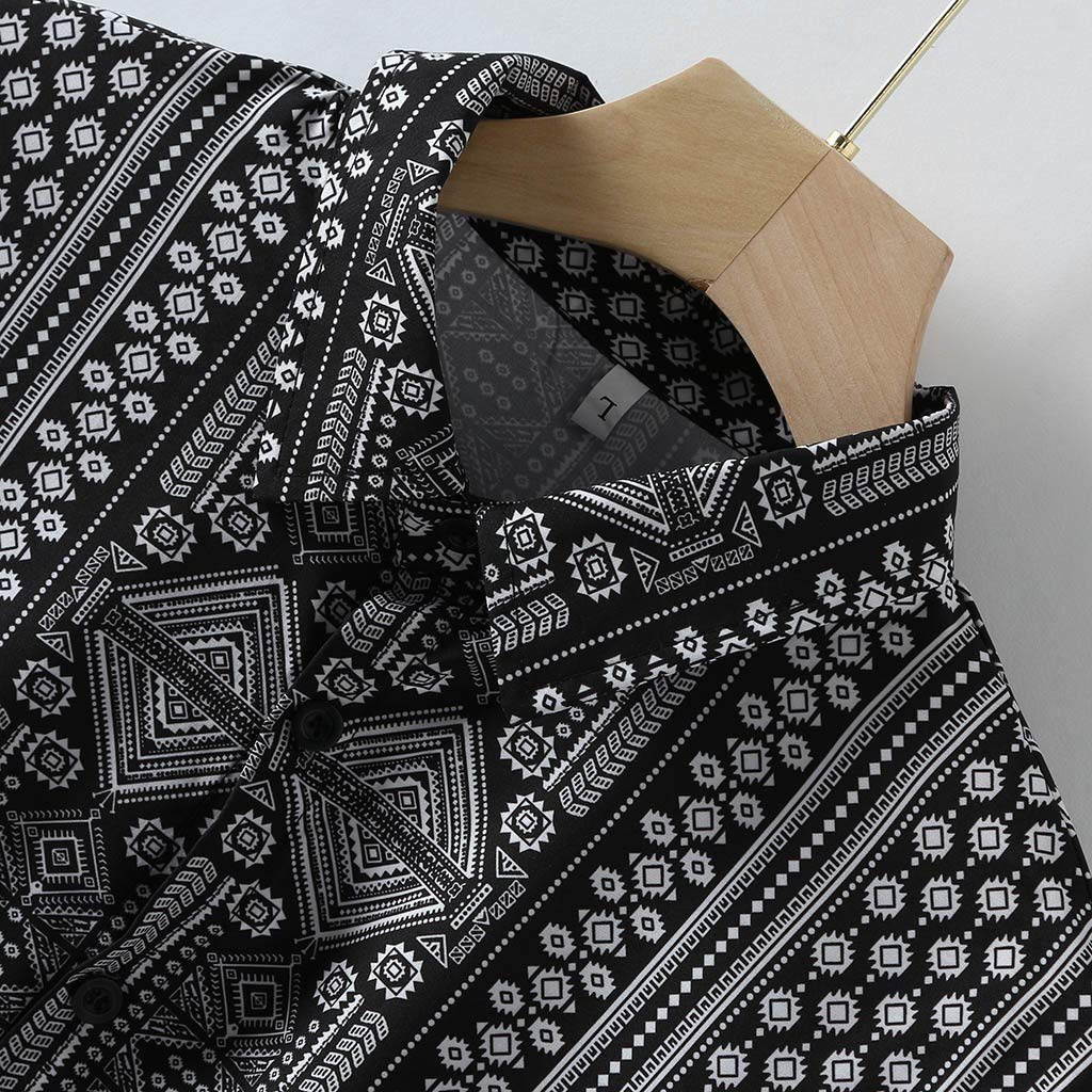 Beautyfine Button-Down Shirts for Men Baggy Beach Ethnic Print Long Sleeve Collar T Shirts Tops
