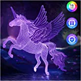 PASTACO Unicorns Gifts for Girls, Unicorn Night Lights for Girls Room, 16 Colors Changing & Dimmable LED Bedside Lamp for Gir