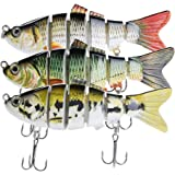Bass Fishing Lures – Pack of 3 Artificial 6-Joint Fishing Baits – Realistic Swimbaits Lures for Bass – Carbon Steel Hard…
