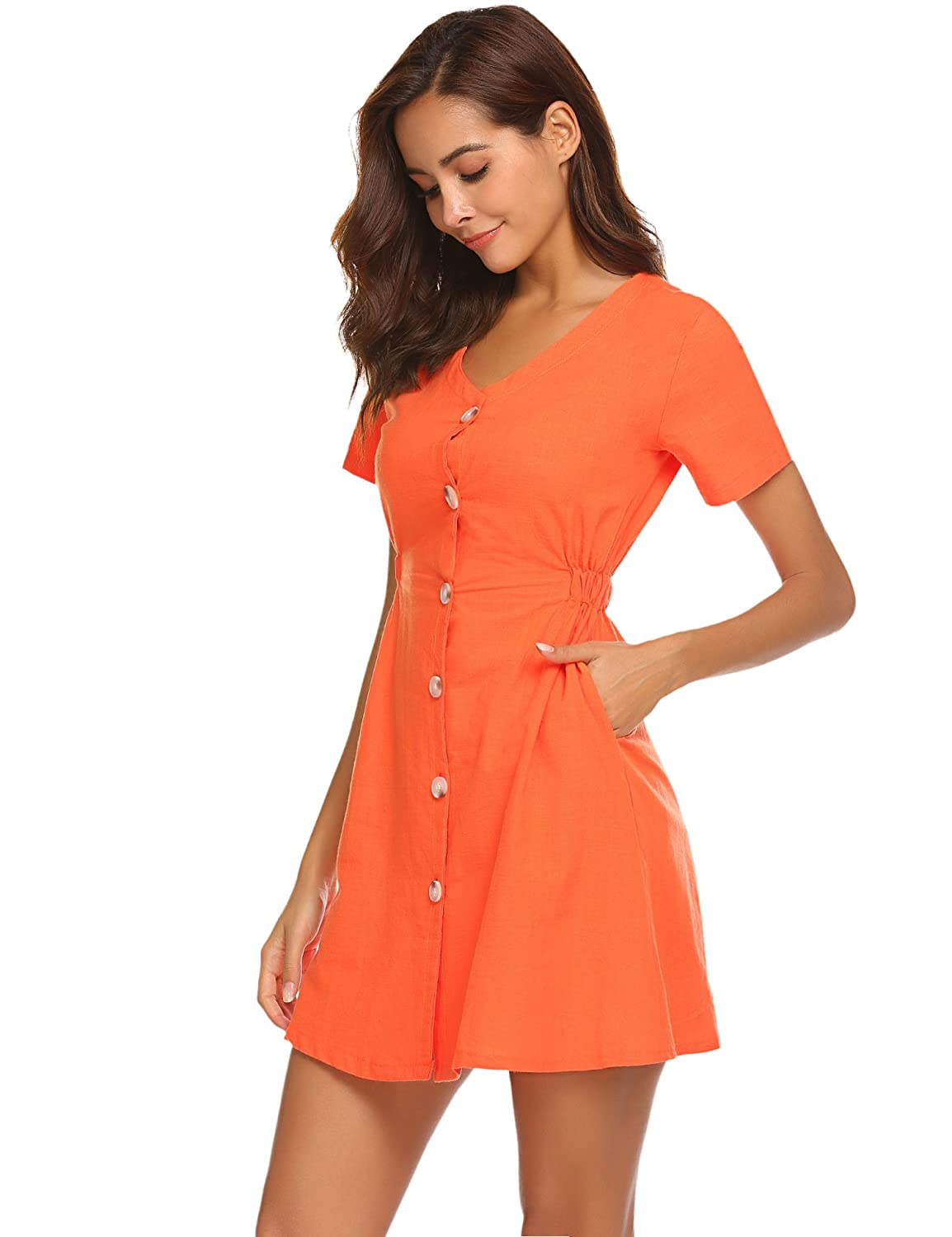 1b02fc9c64d6 Halife Women's Summer Short Sleeve V Neck Button Down Swing Mini Dress with  Pockets at Amazon Women's Clothing store: