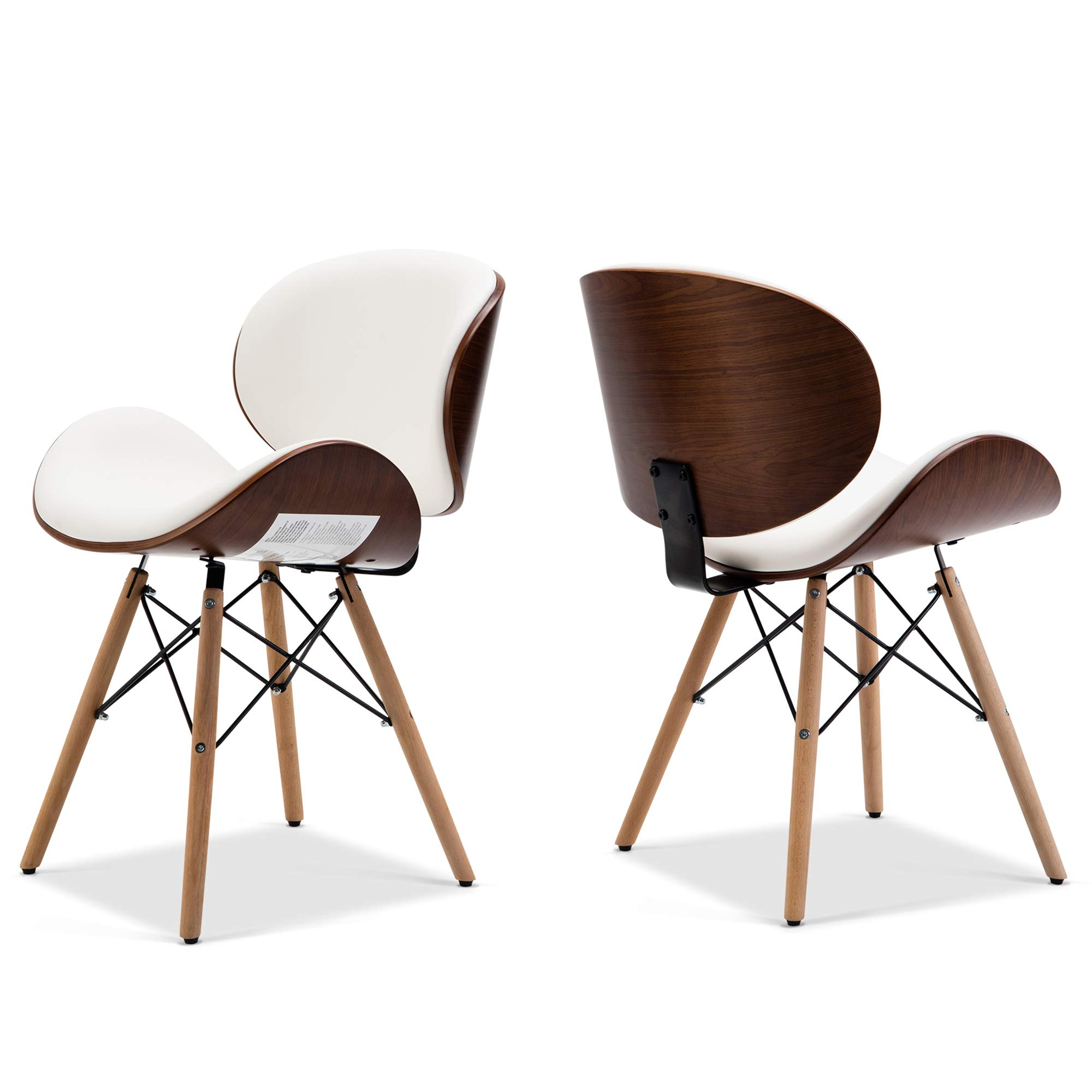 Belleze Set of 2 Mid-Century Living Room Kitchen Dining Room Curved Back Seat Walnut Accent Dining Chair, White by Belleze (Image #2)