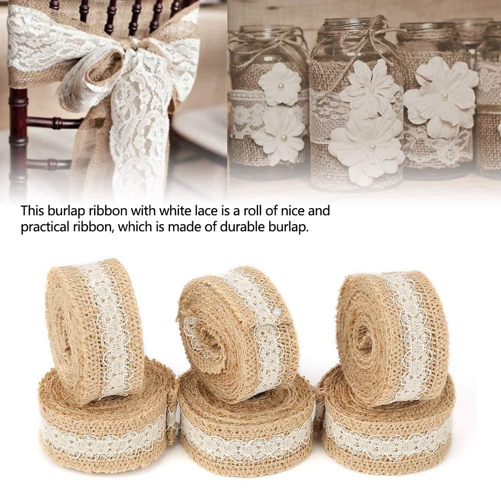 Roll Ribbon Ribbon Iuta Nastro Iuta per Matrimonio Decorazione Mestiere 6pcs 2M