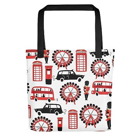 e51fcf9b92ad59 Tote Bag   Shopper Bag   Beach Bag   London Design/London Print   Size  Medium (38cm x 38cm) (Black Handles): Amazon.co.uk: Luggage