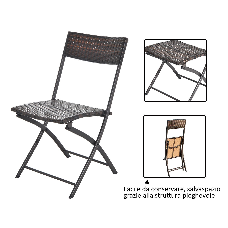 Marrone Outsunny Set Tavolino da Giardino 3pz Tavolino con 2 Sedie Pieghevoli in Rattan