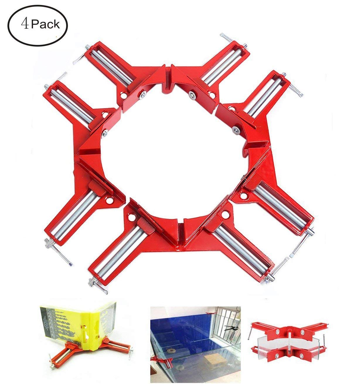 Fashionclubs 4pcs/set Right Angle Clamp,Aluminum 90-Degree Angle Miter Corner Clamp For Picture Frame,Cabinet,Woodworking Hand Jig Tool Kit