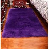 AUTENPOO Luxury Soft Faux Sheepskin Fur Area Rugs,Small Faux Fur Rug for Bedroom Living Room Purple - 4x2.5ft