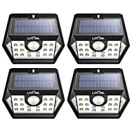 LITOM Solar Lights Outdoor,  Wireless Motion Sensor Lights(White Light), 270°Wide Angle, IP65 Waterproof, Easy-to-install Security Lights for Front Door, Yard, Garage, Deck, Porch-4 Pack