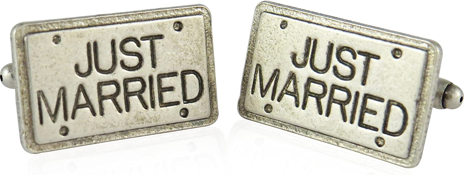 Cuff-Daddy Just Married License Plate Pewter Cufflinks with Presentation Box