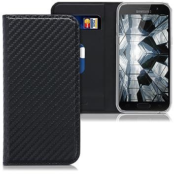 kwmobile Funda para Samsung Galaxy A3 (2017) - Carcasa de móvil de Cuero sintético - Case Plegable con diseño de Carbono