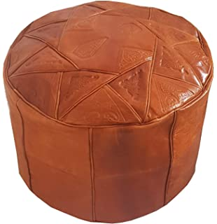 Moroccan Leather Pouffe Footstool Ottomans, Footstools & Poufs