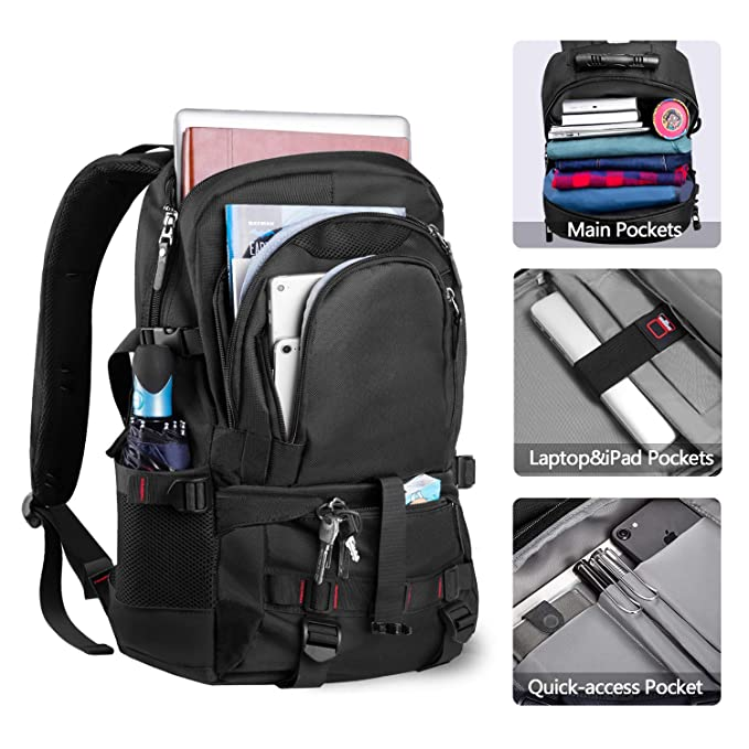 Amazon.com: EletecPro Unisex 17.3 Inch Laptop Backpack with USB Charging Port,Durable Travel Backpack with Contains Multi-Function Pockets for Women & Men ...