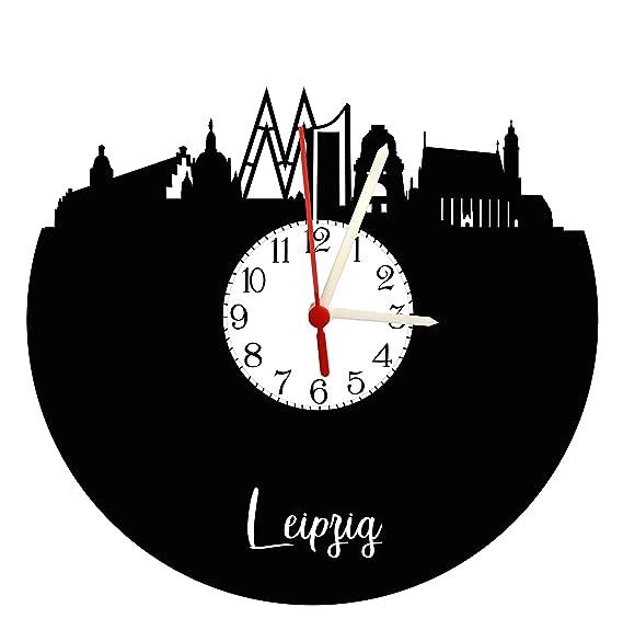 Reloj De Pared Leipzig Skyline con esfera, placa acústica Reloj con mecanismo de cuarzo, regalo único, fabricado en Alemania,: Amazon.es: Relojes