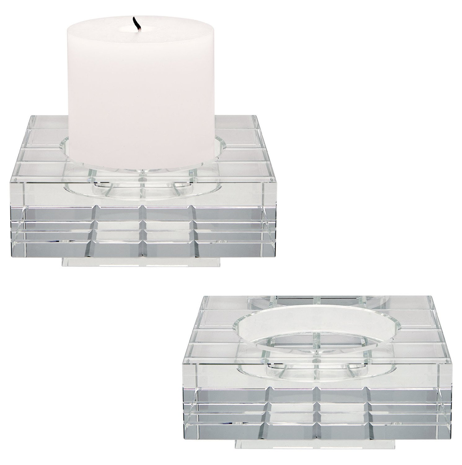 Clear Square Windowpane Large Crystal Candleholders - Set Of 2