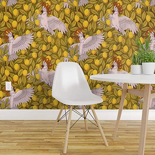 Spoonflower Peel And Stick Removable Wallpaper Cockatoos Lemons