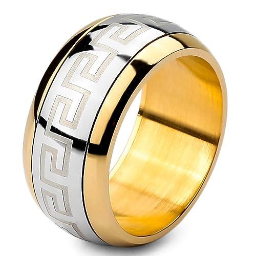 MunkiMix Grande Gran Acero Inoxidable Anillo Ring Banda Venda Plata Oro Dorado Dos Tono Griego Talla