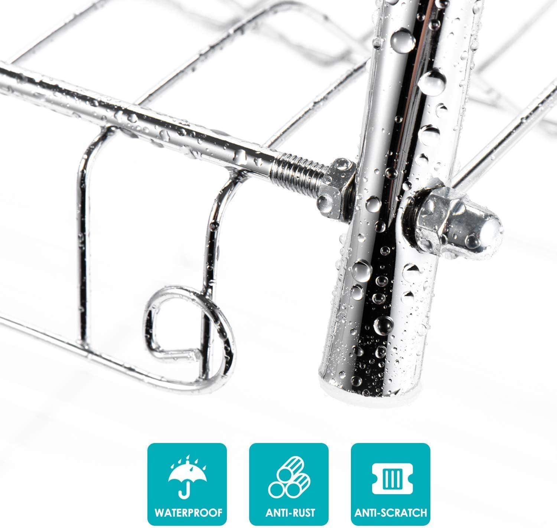 Catalpa soporte para bebidas y escurridor Escurreplatos de 2 niveles con bandeja extra/íble para utensilios de cocina
