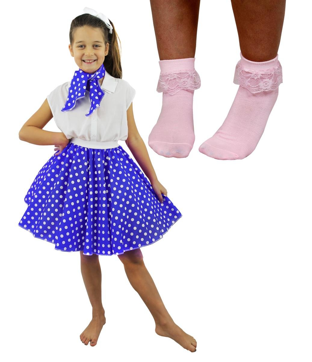 66113385837 CHILDS DELUXE ROCK N ROLL SKIRT FANCY DRESS COSTUME SET - BLACK POLKA DOT  SKIRT - 50 S STYLE SKIRT WITH MATCHING NECK SCARF AND BOBBY SOCKS - ONE  SIZE IDEAL ...