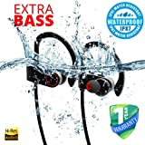 OHUM Bluetooth earphone with microphone headphone for sports extra bass headset with warranty 1 year (Black)