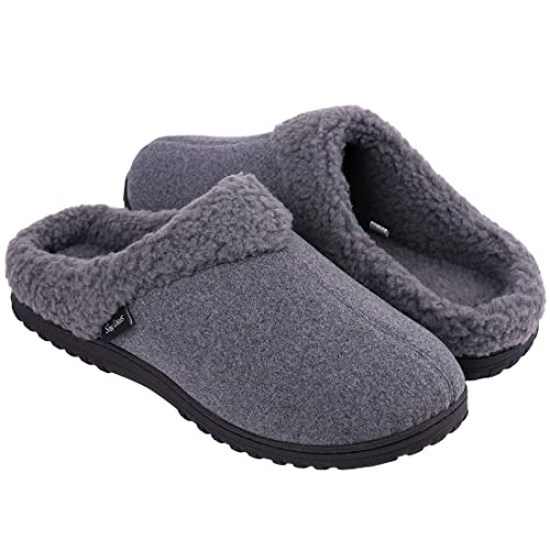 5883a6343a8 Snug Leaves Mens Cozy Memory Foam Slippers Wool Plush Fleece Lined Indoor  Outdoor House Shoes (
