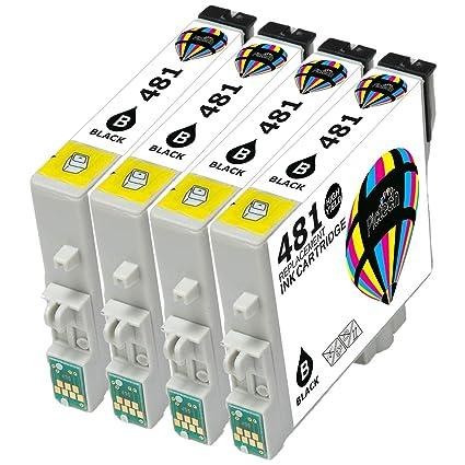 4 Epson Compatible T0481 (4 x negro) cartuchos de tinta para ...