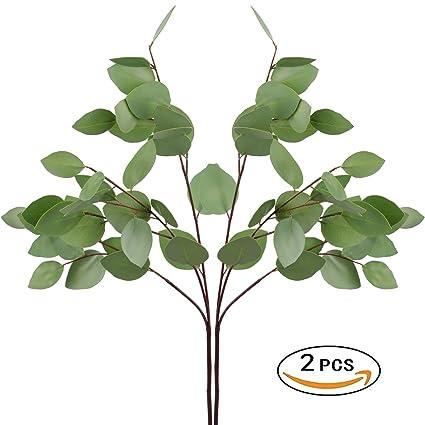 Ringlong 2pcs Artificial Silver Dollar Eucalyptus Leaf Spray 30quot For Garland Floral Arrangement Home Hotel