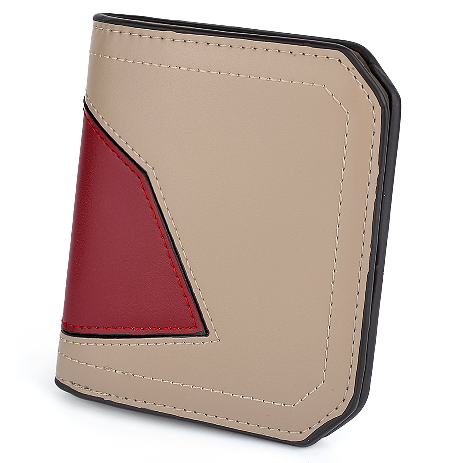 UTO Thin Wallet for Women Small Compact Bifold PU Leather Pocket Wallet Ladies Mini Purse with id Window Khaki