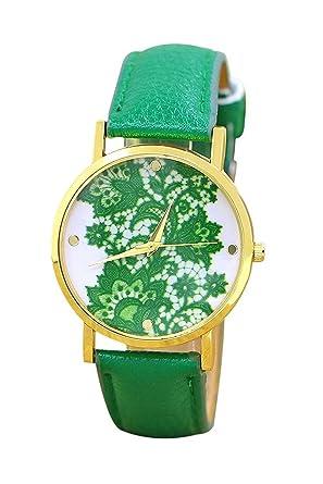 Reloj de pulsera - Geneva reloj de pulsera de encaje impreso para mujeres verde osculo: Amazon.es: Relojes