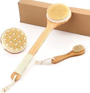 Bath Body Brush Set for Wet or Dry Brushing - Natural Detoxifying Facial Brush & Long Handle Body Brush - Exfoliating Dry Skin, Stimulate Blood Circulation - Set of 3