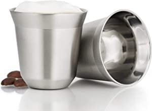Metal Espresso Cups Set of 2 - Double Wall Insulated Stainless Steel Demitasse Espresso Cups - 2.7oz Rustproof Travel Espresso Cup Glass Sets - Stackable Coffee Lungo Mugs - Great Espresso Gift Set