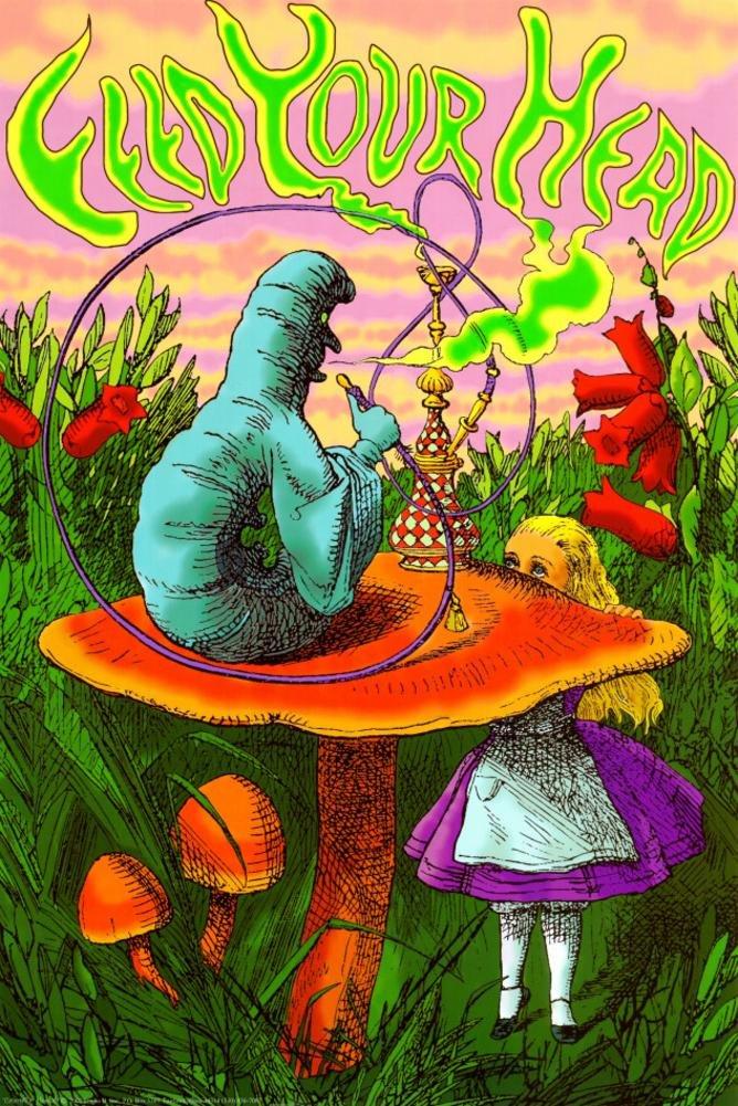 RhythmHound Laminated Alice in Wonderland Feed Your Head Caterpillar Poster 24 x 36