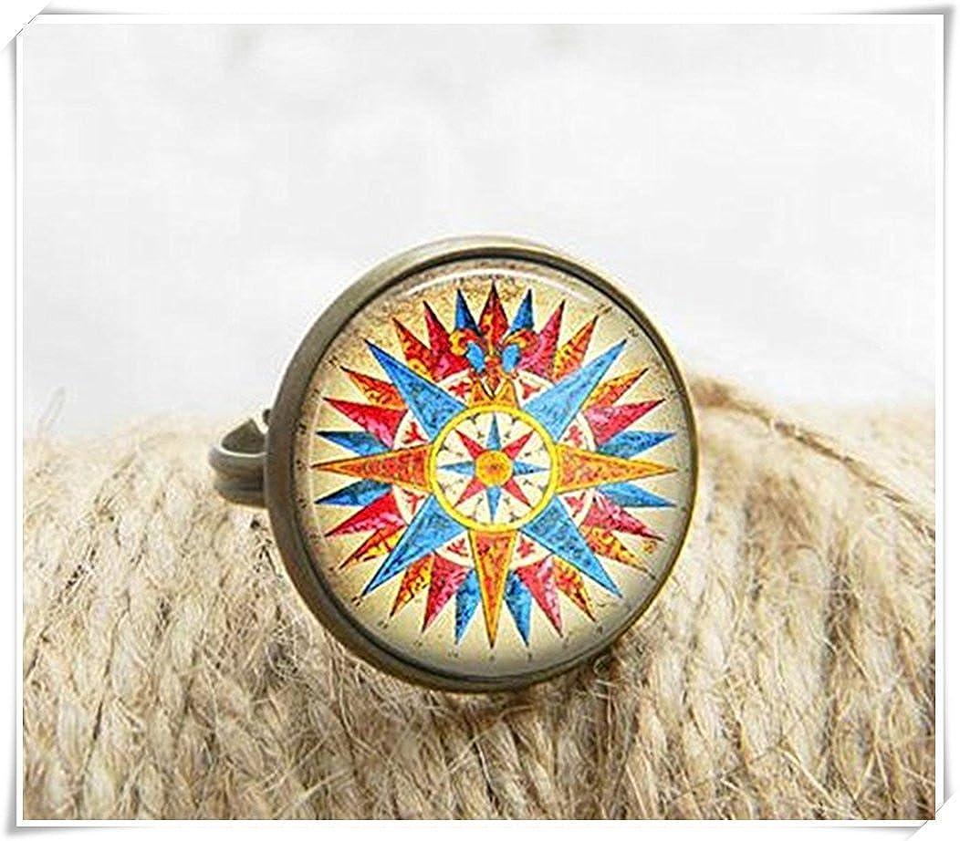 Bussola anello gioielli di arte stampa foto anello Black ae37