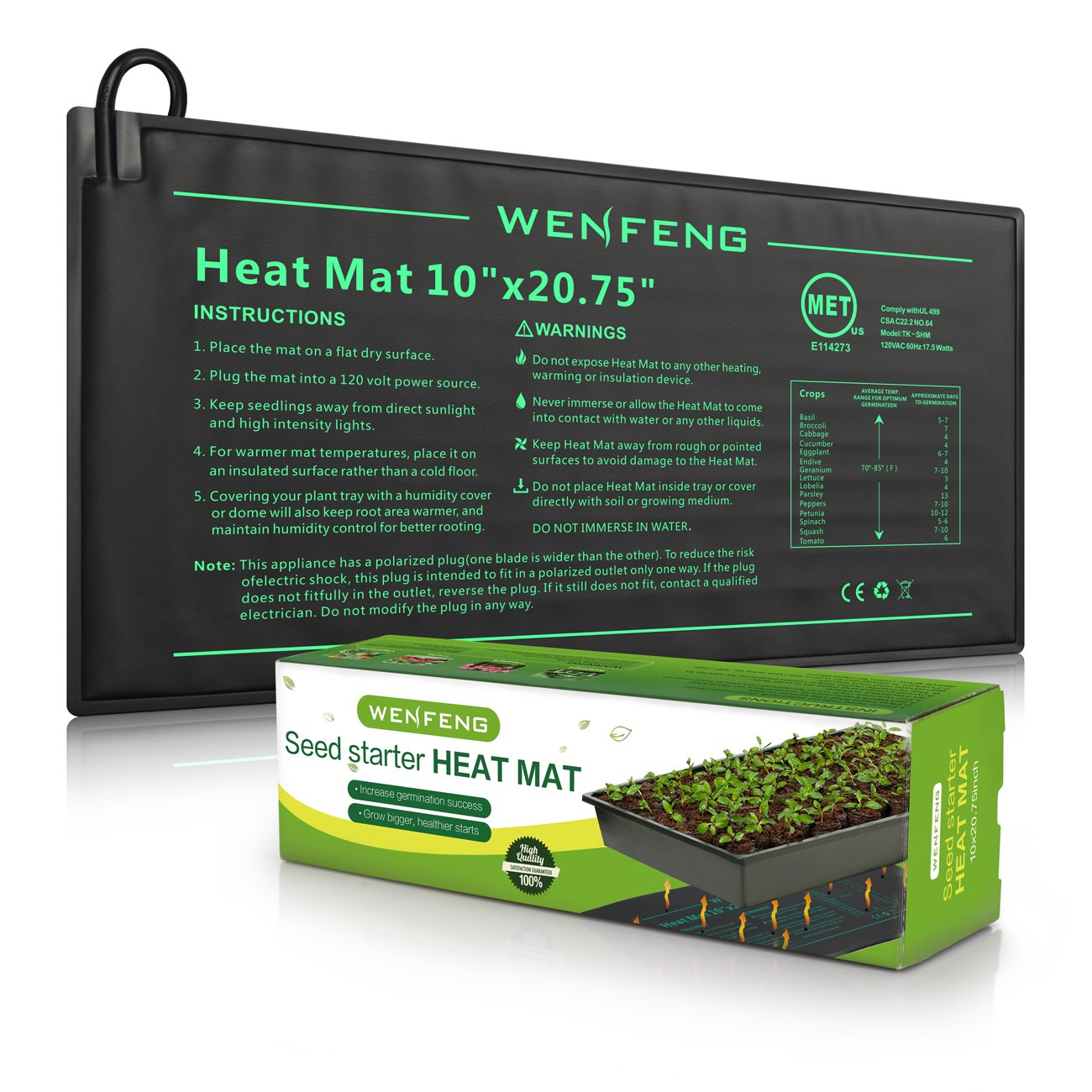 WENFENG Seeding Heat Mat 10 x 20.75 Warm Hydroponic Heating Pad for Indoor /& Outdoor Home Gardening Durable Waterproof Hydroponic Seeding Plant Mat