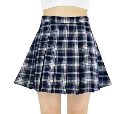 476e13fe1f YSJERA Lady's Chic Flared Check Plaid Pleated A-Line Short Mini Skater  Skirts (XS