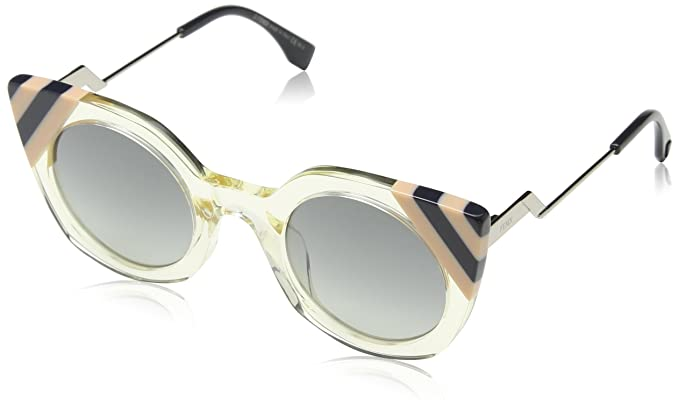 96fe25d42295 Image Unavailable. Image not available for. Color  Fendi FF 0240 40G Waves  Yellow Crystal Plastic Cat-Eye Sunglasses Dark Grey Gradient Lens
