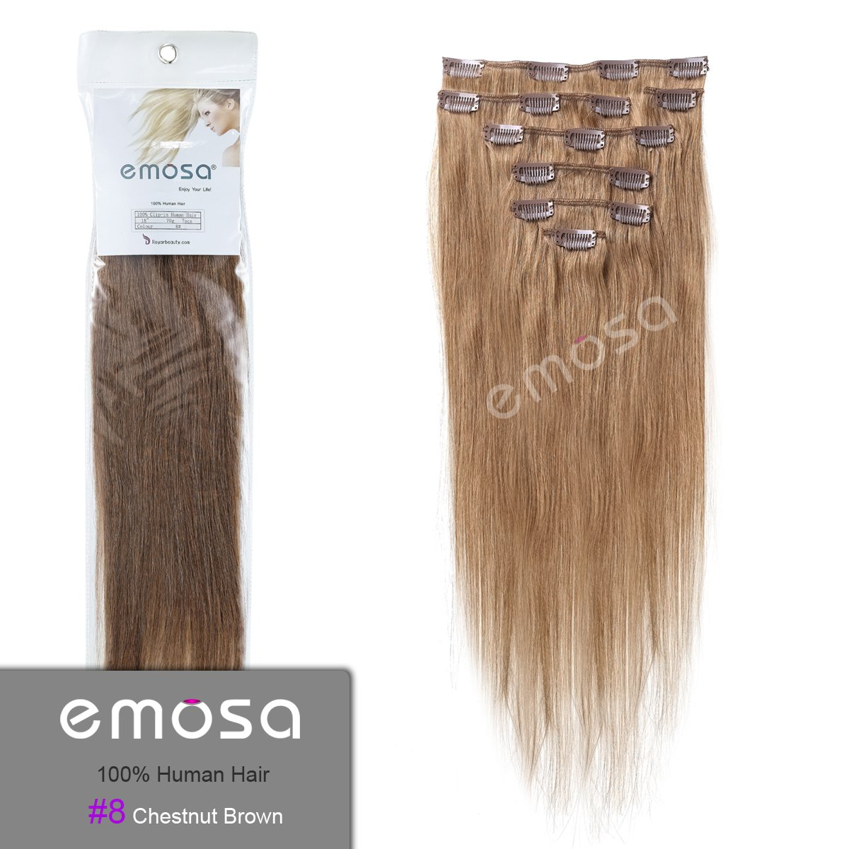 Amazon emosa silky straight 100 human hair clip in amazon emosa silky straight 100 human hair clip in extensions 7 piece set color 8 medium brown 15 real hair clip in extensions beauty pmusecretfo Image collections