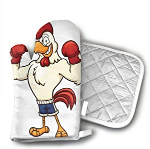 NOT Funny Boxing Rooster Oven Mitts,Heat Resistant Oven Gloves Insulation Thickening Cotton Gloves Baking Kitchen Cooking Mittens with Soft Inner Lining