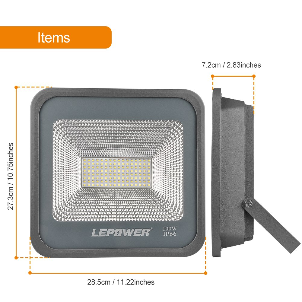 LEPOWER 2 Pack 100W LED Flood Light, 10000lm Super Bright Work Light with Plug, 6000K White Light, IP66 Waterproof Outdoor Floodlight for Garage, Garden, Lawn,Basketball Court,Playground by LEPOWER (Image #6)