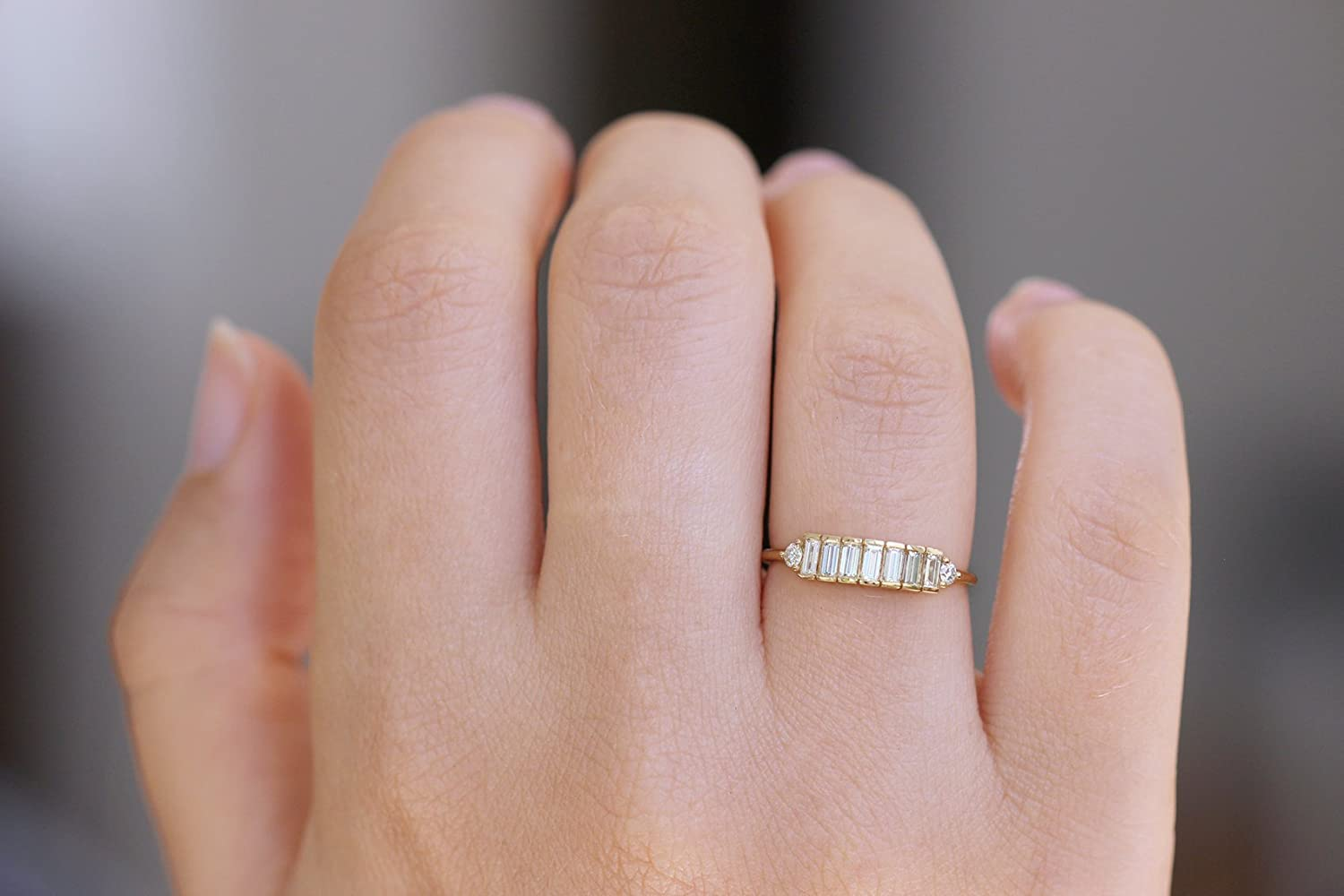 Amazon.com: Baguette Diamond Band, Baguette Ring, Dainty Baguette ...