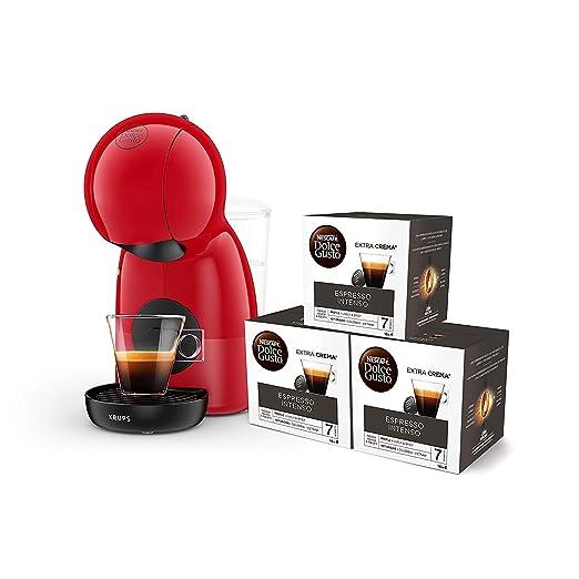 Pack Krups Dolce Gusto Piccolo XS KP1A05SC - Cafetera de cápsulas, 15 bares de presión, color rojo + 3 packs de café Dolce Gusto Espresso Intenso